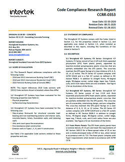 Intertek Code Compliance Research Report CCRR-0353 for Stronghold ICF Blocks USA & Canada