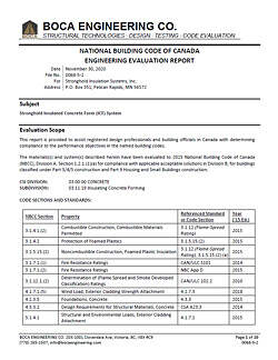 National Building Code of Canada NBCC Engineering Evaluation Report for Stronghold ICF Blocks USA and Canada